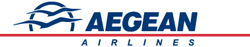 The logo of Aegean Airlines. Homeric Tours' flight airline partners.