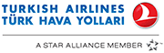 The logo of Turkish Airlines. Homeric Tours' flight airline partners.