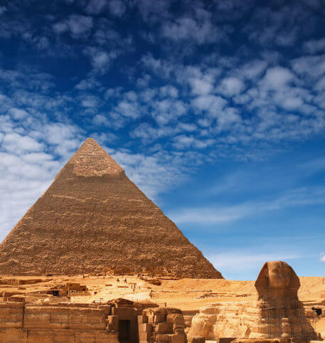 View of the Great Sphinx and a Pyramid in Cairo, Egypt, the destination of Egypt holidays package.