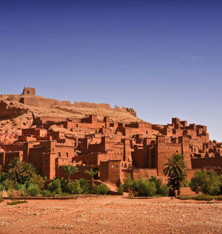 An old castle and palm trees in Morocco. Big South Kasbahs Morocco holidays package.