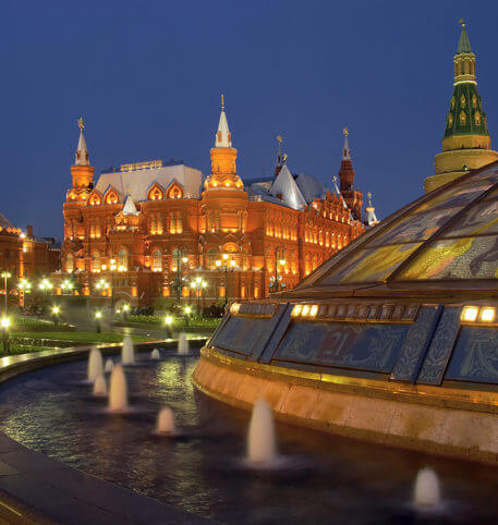 Monuments in Moscow at night. Moscow is the capital of Russia.