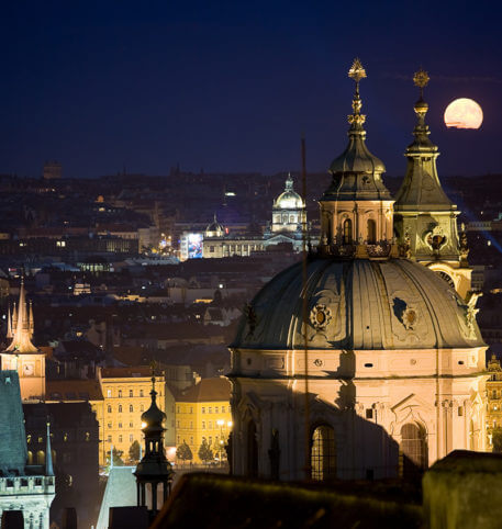 View of a beautiful city in Czech Republic at night. Homeric Tours can plan the trip for you.