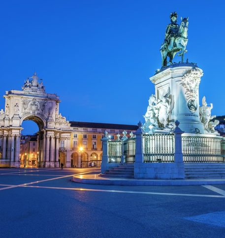 Night at a famous square in Portugal. Portugal holidays and vacations package.