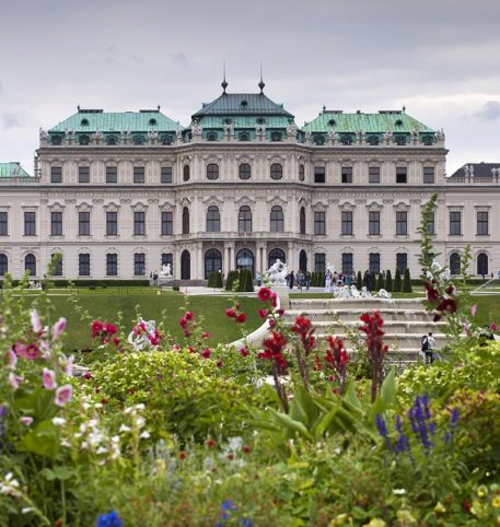 The exterior of a palace in Vienna, Austria. Austria holidays and vacations package.