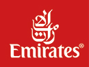 The logo of Emirates airlines. Homeric Tours' flight airline partners.