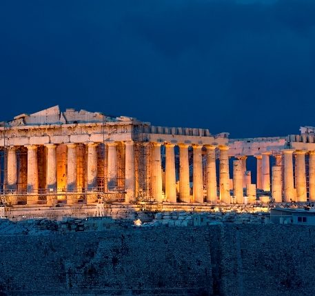 Lights at the Parthenon at night. Parthenon is one of the most important monuments of human heritage