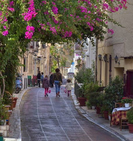 An alley in Anafiotika, a region of Plaka, one of the most popular destinations in Athens.