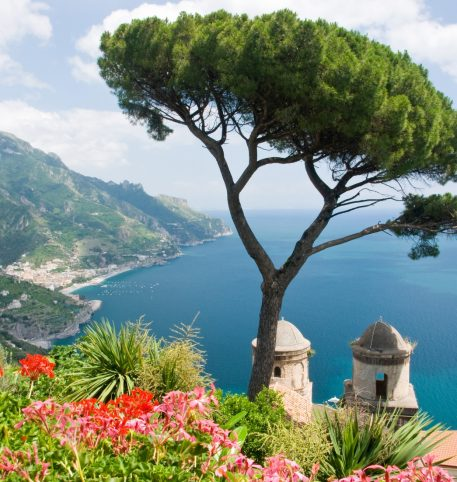 Flowers and a tree overlooking the sea and the green mountains in Amalfi, Italy.