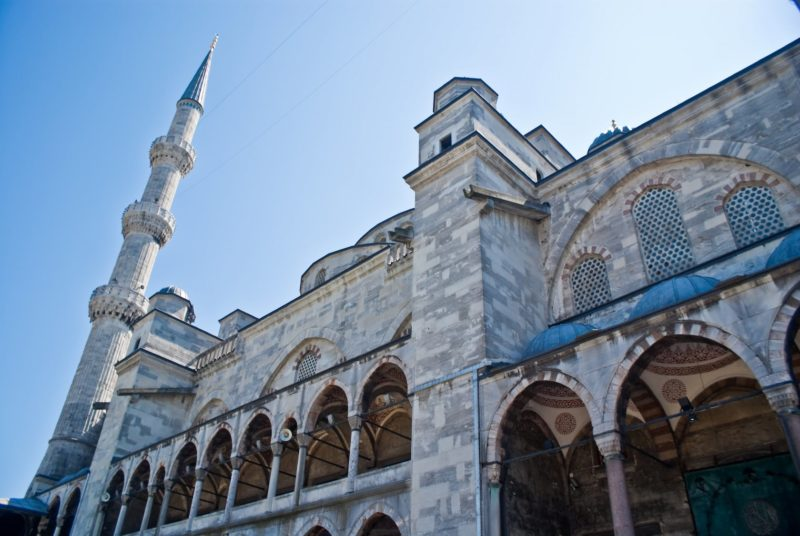 The facade of a mosque in Turkey. Homeric Tours holidays & vacations.
