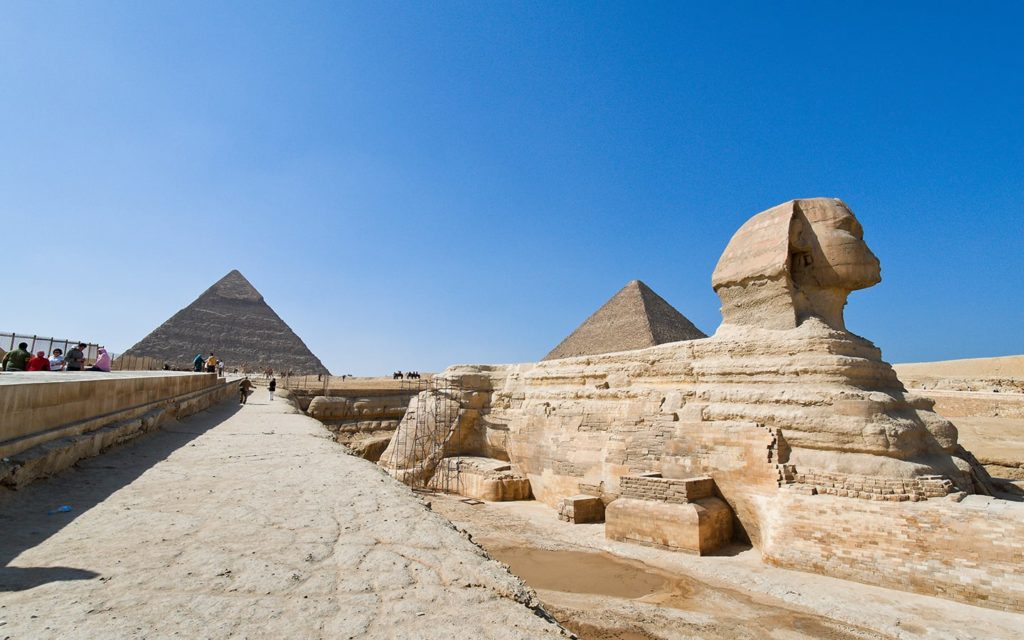The Great Sphinx and the Pyramids in Egypt, some of the most important monuments of mankind.