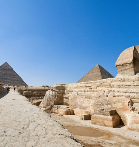 The Great Sphinx and the Pyramids in Egypt, some of the important monuments of mankind.