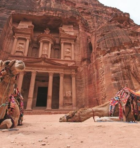 The exterior of Petra, a famous archaeological site in Jordan's southwestern desert.
