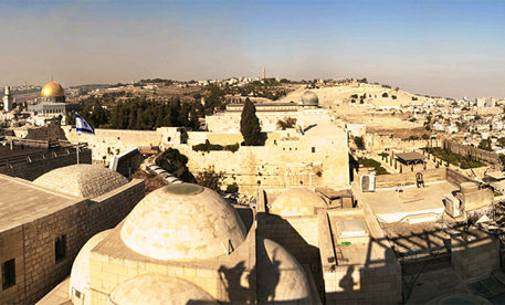 Overhead view of a region of Jerusalem in Israel. Israel holidays and vacations package.