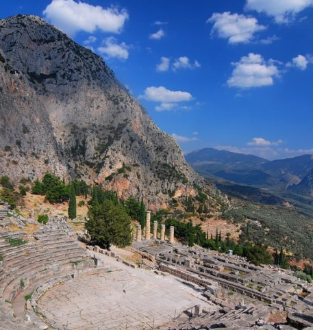 The ancient Theater in Delphi, one of the most popular and beautiful places in Greece.