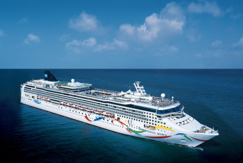 Ship sailing in the sea. Homeric Tours 7 day Greek isles Norwegian Cruise.