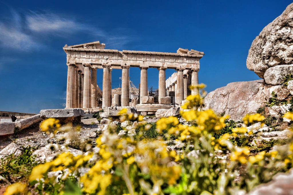 The facade of Parthenon in Athens, one the most important monuments of world heritage.