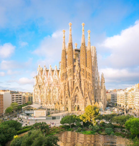 View of the cathedral, La Sagrada Familia, in Barcelona, Spain.